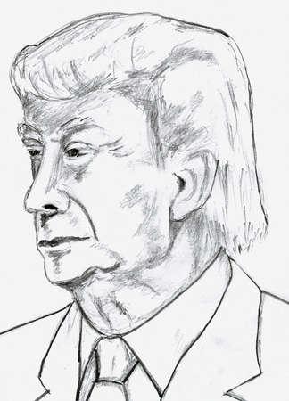 bocetos de personas: Donald Trump del bosquejo del lápiz