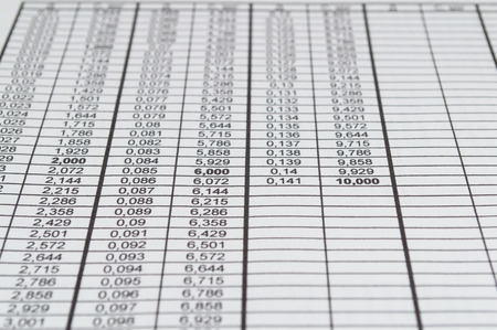 statistician: The table with numbers on paper Stock Photo