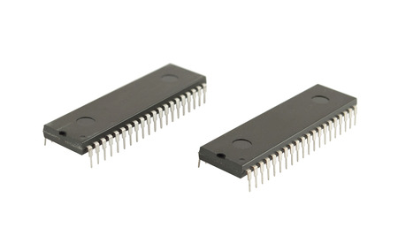 Two integrated circuits isolated on the white background Stock Photo