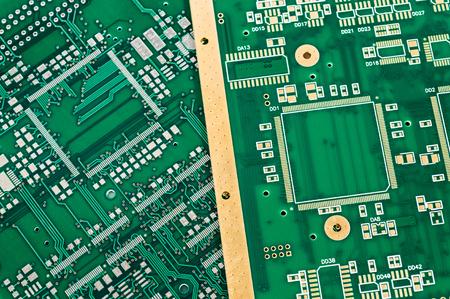 pcb: Blank green printed circuit boards (PCB) Stock Photo