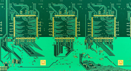 gilded: he  blank green printed circuit board (PCB) with gilded contacts