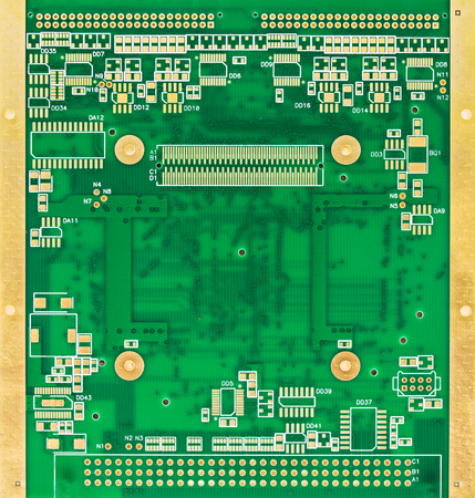 gilded: The  blank green printed circuit board (PCB) with gilded contacts