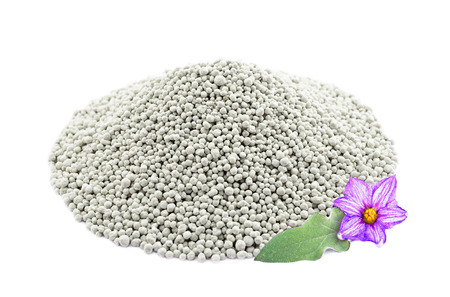 Heap of composite mineral fertilizers with leaf and  flower, isolated on the white background Stock Photo