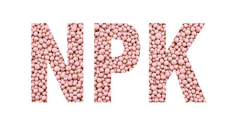 nitrogen: NPK letters made of mineral fertilizers on the white  background. N - nitrogen, P - phosphorus, K - potassium (kalium)