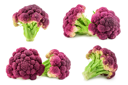 Purple italian cauliflower isolated on white background.  This image is combined from four shots