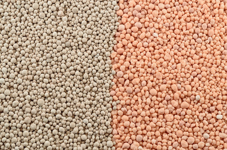 Mineral fertilizers balls. Background Stock Photo - 93639640