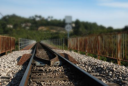 oxidated: A vintage railway track with blurred background   Stock Photo