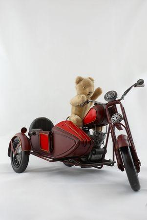sidecar: Old Teddy Bear Riding Vintage Toy Motorbike