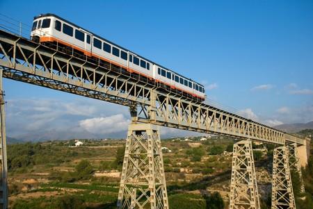 railtrack: Narrow gauge train crossing a bridge in scenic location