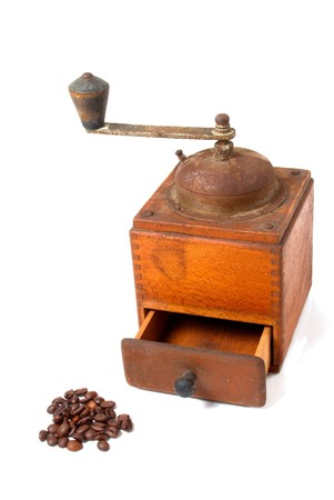 oxidized: Old, oxidized coffee grinder from grandmother�s times