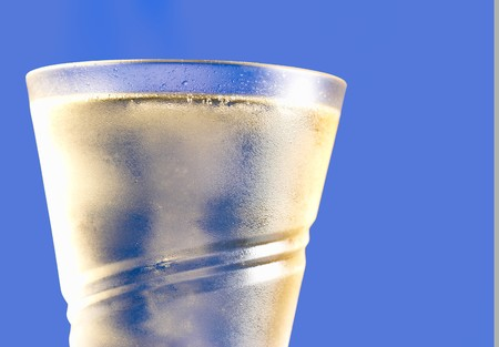 champain: Top of a chilled glass of bubbly champain Stock Photo