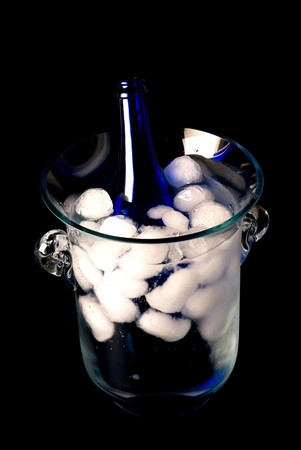 Crystal ice bucket with blue champagne bottle Stock Photo - 7160249