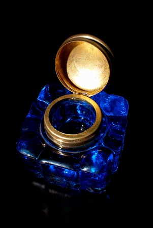 Vintage crystal  ink well with copper lid