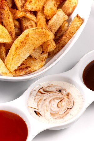 Homemade potato chips served with a choice of dips