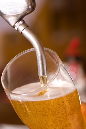 Serving a fresh draft lager from the tap