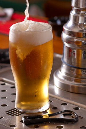 pint: Serving a pint of lager beer from the draft