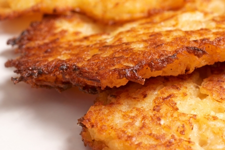 Closeup of freshly fried latkes, traditional jewish food