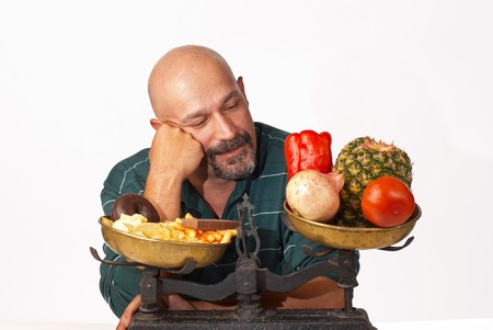 Guy feeling good about his decision to diet photo