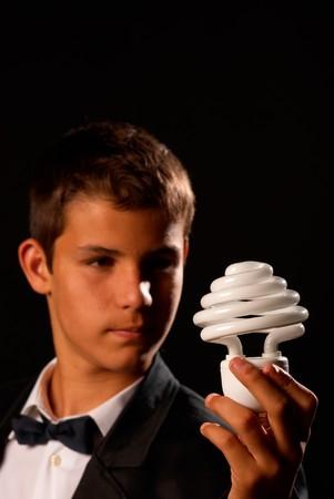 Teenager showing environmental awareness, educational concept photo