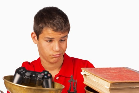 Teenager not very pleased at having to study Stock Photo - 7841146
