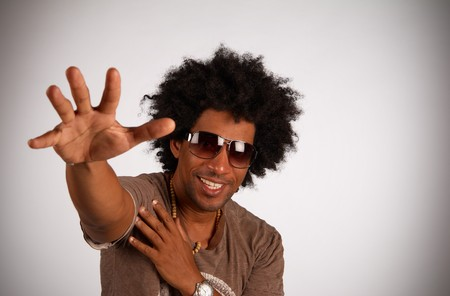 African american hiphop artist in cool gesture photo