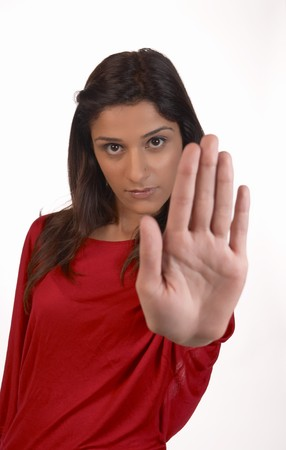 uninterested: Young middle eastern woman in a determined refusal attitude