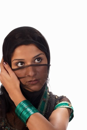 middle eastern woman: Middle eastern woman dressed in traditional sari Stock Photo
