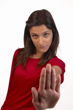 middle eastern woman: Middle eastern woman in a determined refusal attitude
