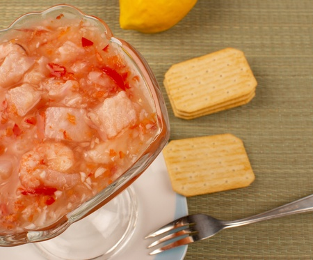 meagre: Freshly prepared hake ceviche, south american cuisine