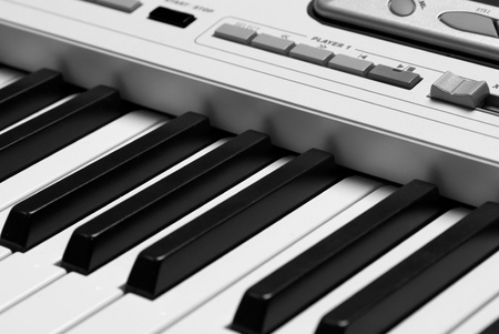 Detail take of the keyborad of a synthesizer photo