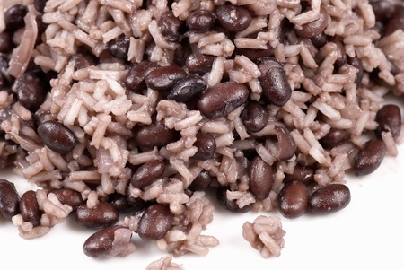 pinto beans: Detail of gallo pinto, central american meal staple Stock Photo