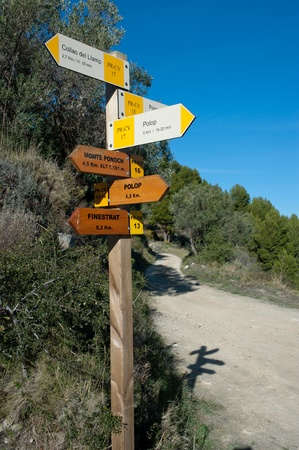 Wooden hiking trail signpost with multiple directions Фото со стока