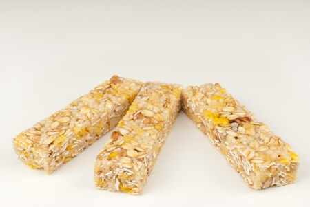 Cereal muesli bars isolated on white background Stock Photo - 8856354