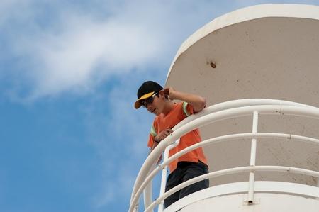 Lifeguard on duty on a beach watchtower Stock Photo - 9001013
