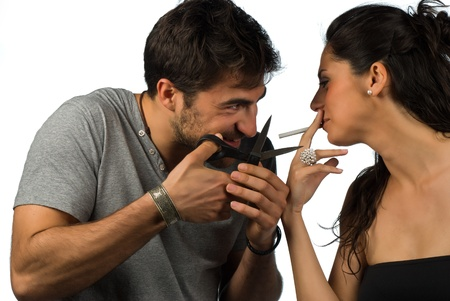 Guy trying to help his girlfriend stop smoking Stock Photo - 9219737