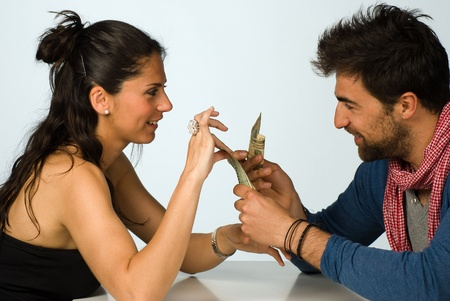 Couple  agreeing on sharing money, financial concept photo