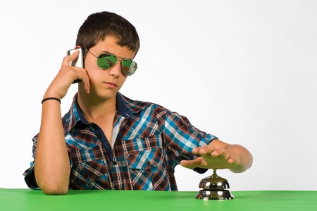urging: Waiting youngster getting upset, a concept for impatience Stock Photo