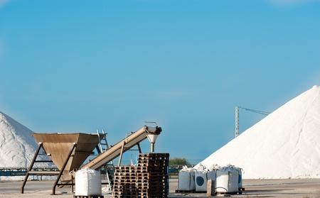 Industrial salt mine and machinery in Santa Pola; Spain Stock Photo