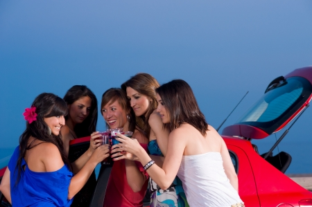 girls night out: Girls having fun on a warm summernight out