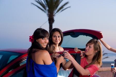 Girls having fun on a warm summernight out