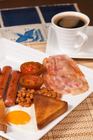 Freshly served traditional English breakfast, a hearty way to start a day photo