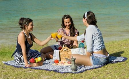 picnic blanket: Chicas disfrutando de un d�a de campo cl�sico en un entorno pintoresco