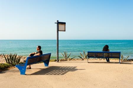 A couple facing separate lifes, a concept Stockfoto