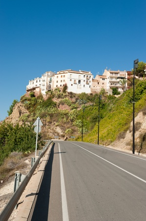 costa blanca: Hanging hilltop houses at Finestrat old town, Costa Blanca, Spain Stock Photo