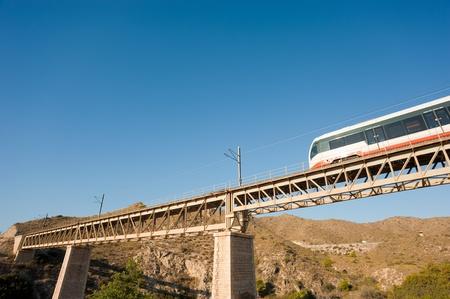 narrow gauge: A small narrow gauge train crossing a bridge