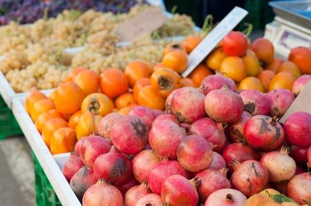 street market: Colorful autumn produce on dispay at a street market Stock Photo