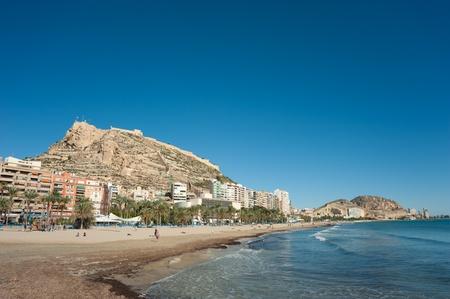 costa blanca: Costa Blanca capital town Alicante on a sunny autumn day Stock Photo