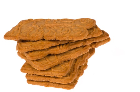 A heap of  crunchy spekulatius biscuits on white Stock Photo