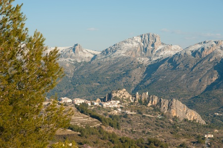 blanca: Snowfall around the historic village of Guadalest, Costa Blanca, Spain Stock Photo