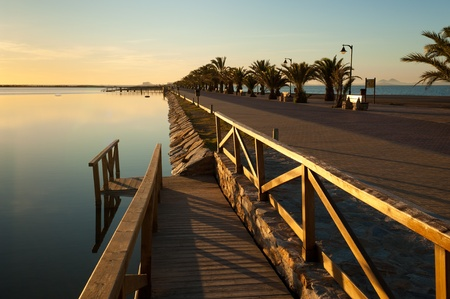 Promenade dividing the two seas at San Pedro, Murcia, Spain